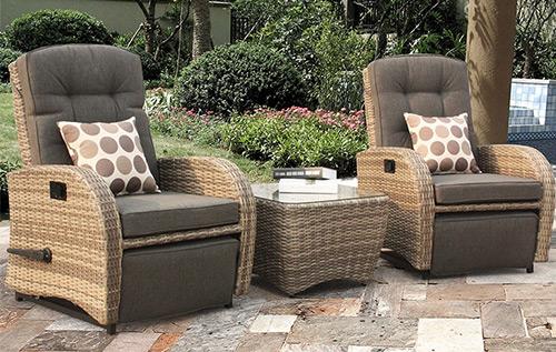 Commercial Majestique Rattan Furniture Sets Reclining Rattan